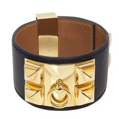 704edcbba4a Hermes Black Box Calfskin Collier de Chien CDC Bracelet