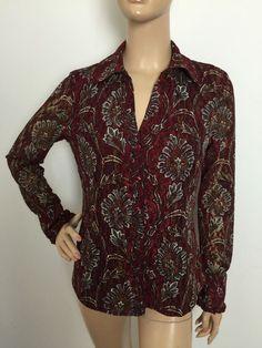 International Concepts Multicolor Printed Button Down Mesh Shirt Size Medium | eBay