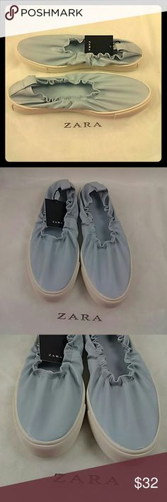 ZARA basic collection Blue Stretch Sneaker New with tags without box women's Shoes ZARA basic collection Blue Stretch sneakers Slip on 8/39 Zara Shoes Flats & Loafers