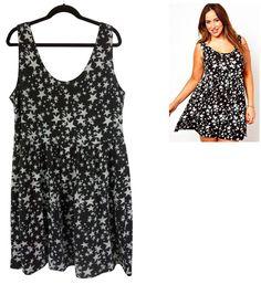 18 2X SEXY Womens ASOS CURVE BLACK & WHITE STAR PRINT SUNDRESS Summer PLUS SIZE #ASOSCurve #Sundress #Versatile