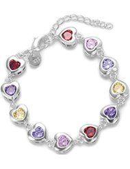 925Colorful Crystal Rhinestone mosaico corazón Enlace Pulsera de cadena