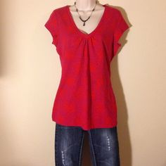 Nordstrom top. Halogen Red with purple design. Brand new with out tags.size medium Halogen Tops Tees - Short Sleeve