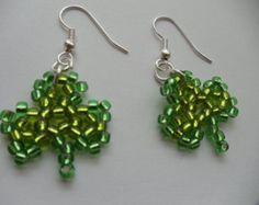 St Patrick's Day Beaded clover Irish jewelry shamrock bead woven earrings handmade jewelry