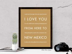 I Love You From Here To NEW MEXICO art print - All states and countries available!