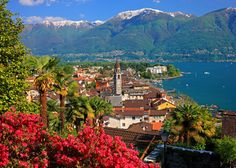 Stretched Canvas Print: View of the Town Centre with Parish Church and Lake, Ascona, Lake Maggiore, Switzerland : Yosemite National Park, National Parks, Painting Edges, Beach Landscape, Ways Of Seeing, Stretched Canvas Prints, Scenery, Around The Worlds, Art Prints