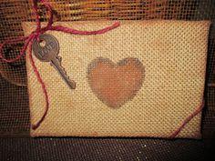 Burlap Key to my Heart art wall hanging Primitive by KnicKnacNiche