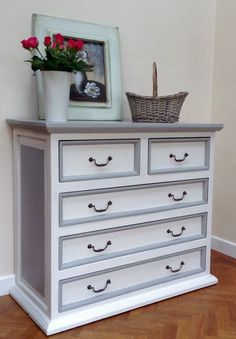 SOLD - VINTAGE PINE Dresser- Chest Of Drawers hand painted in Annie Sloan Paris Grey and Old White. Similar can be sourced for commission