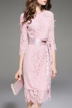 Krush.miu Pink Lace Hollow Out Belted Dress | Knee Length Dresses at DEZZAL