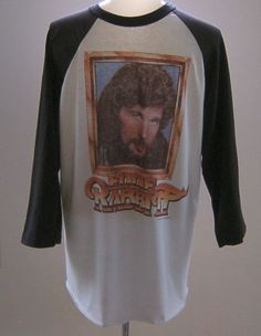 Vintage Eddie Rabbit Baseball T Shirt On The Run Tour Country Music Rock 1982 #TeeJays #GraphicTee #Casual