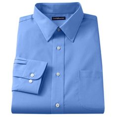 Men's Croft & Barrow® Fitted Solid Broadcloth Point-Collar Dress Shirt, Size: 14.5-32/33, Blue