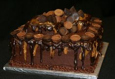 Reeses Cake for a groom who loved Reeses. It is a double chocolate cake Chocolate Fudge Icing, Double Chocolate Cake, Chocolate Buttercream, Chocolate Treats, Reeses Cake, Napoleon Cake, Occasion Cakes, Cake Tins, Eat Cake