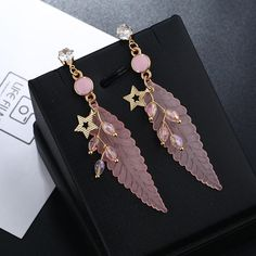 Fashion Feather Earrings Star Rhinestones Acrylic Dangle Earrings Gift for Girls Women online - NewChic Feather Earrings, Dangle Earrings, Jewelry Sets, Women Jewelry, One Piece Bikini, Goods And Service Tax, Gifts For Girls, St Kitts And Nevis, Uganda
