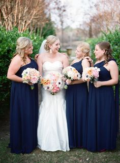 Peach pink navy bridal party Outdoor Pink + Navy Texas Wedding   www.elizabethannedesigns.com  photography by www.krystleakin.com/