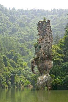 Elefante scolpito nella roccia india.