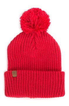 Bright Red 'Alpine' Pom Beanie
