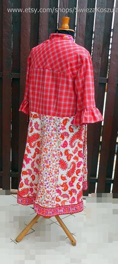 2X Cottage Recycled Fabric Dress Refasioned UpCycled