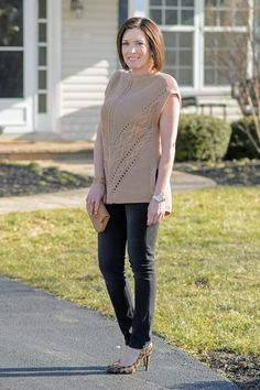 Caramel Cable Knit Poncho + Black Jeans with Leopard D'Orsay Pumps