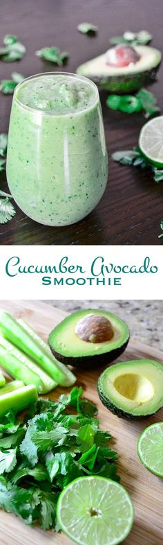 Cucumber Avocado Smoothie PIN: Buttery avocado, crisp cucumber, earthy cilantro, and bright lime juice combine to make this cucumber avocado smoothie a great way to start your day. See more great recipes Avocado Smoothie, Avocado Dessert, Yummy Smoothies, Breakfast Smoothies, Smoothie Drinks, Yogurt Smoothies, Smoothies Coffee, Making Smoothies, Simple Smoothies