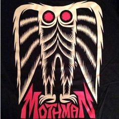 Martin Ontiveros Mothman shirt Flatwoods Monster, Strange Beasts, Mothman, Mysterious Places, Cryptozoology, Cute Monsters, Urban Legends, Weird And Wonderful, Mythical Creatures