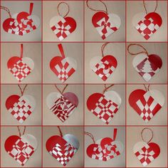 Woven paper hearts NOW - that speaks Swedish Christmas! Norwegian Christmas, Danish Christmas, Scandinavian Christmas, Modern Christmas, Handmade Christmas, Valentine Crafts, Holiday Crafts, Valentines, Christmas Hearts