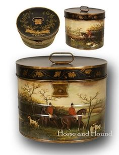 Cumberland Hunt Hat Box Furniture & Accents - Foxhunting Decor - By Jeanne Reed at Horse and Hound Gallery
