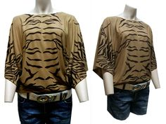 Fledermausärmel Tunika Poncho Tiger Oberteil Shirt braun Gr.38,40,42,44,46 NEU