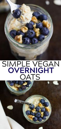 Simple Vegan Overnight Oats, or the easiest healthy breakfast ever! Simple Vegan Overnight Oats, or the easiest healthy breakfast ever! Vegan Brunch Recipes, Healthy Brunch, Nutritious Breakfast, Vegan Recipes Easy, Whole Food Recipes, Vegan Oats Breakfast, Simple Vegan Meals, Mexican Breakfast, Breakfast Pizza