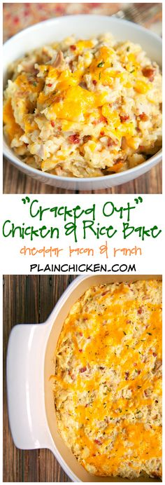 """""""Cracked Out"""" Chicken and Rice Bake - chicken, cheddar, bacon, Ranch and rice - quick and easy weeknight casserole! Use rotisserie chicken and this comes together in 5 minutes! We make this at least once a week! - The Most Healthy Foods I Love Food, Good Food, Yummy Food, Tasty, Chicken Rice Bake, Chicken Bacon, Chicken Rice Recipes, Easy Chicken And Rice, Chicken Soup"""