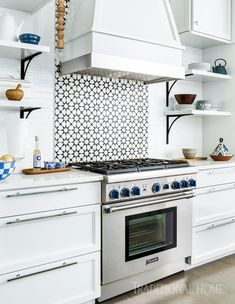 Before and After: Cool Blue Kitchen | Traditional Home