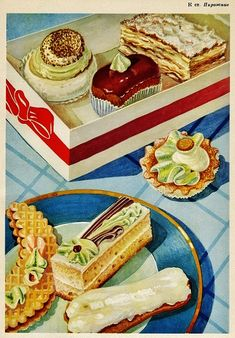 In Soviet times, state-imposed standards known as GOST governed everything from recipes to electrical fittings. Vintage Sweets, Vintage Baking, Retro Recipes, Vintage Recipes, Vintage Food Posters, Dessert Illustration, Vintage Cookbooks, Food Drawing, Food Illustrations