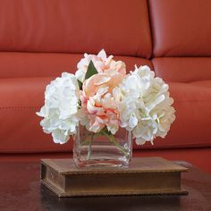 Hydrangea Peach Peony Arrangement Silk Flowers Artificial Faux in Square Glass Vase on Etsy, $85.00