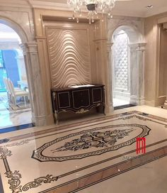 Moreroom big size waterjet marble pattern medallion mosaics for luxury villa home designs tiles