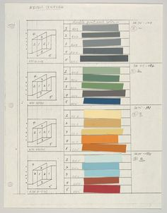 Josef Albers - Colour and layout studies for 'Never before series' 1976