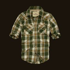 T3 Hollister Mens Plaid Shirts in Yellow ArmyGreen
