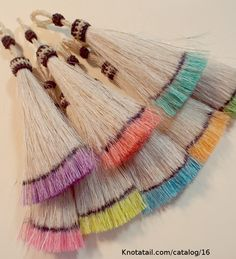 These adorable horse hair tassels come in 17 amazing hand-dyed colors.     These are the most poplar we have in the horse hair tassels.  The tassel is from http://knot-a-tail.com/node/1152  #horsehair tassels