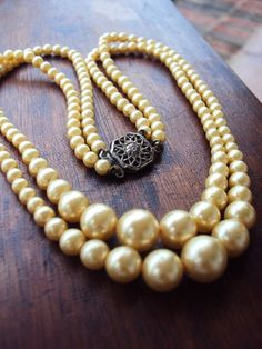 Antique Pearl Necklace Double Strand by primitivepincushion