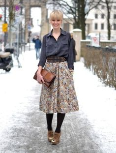 Street style berlin - denim shirt - studded belt - patterned midi skirt