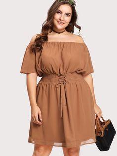 5e3bea83902 Shop Lace Up Waist Bardot Dress online. SheIn offers Lace Up Waist Bardot  Dress