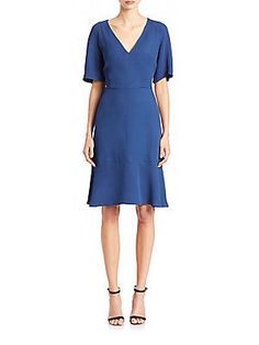 Etro V-Neck Flounce Dress - Blue - Size 40 (6)