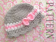Crochet Pattern - Baby Girl Cloche Striped Hat With Bow And Scalloped Edging Easy Modern Crocheted Infant Fashion Cap PDF. $4.95, via Etsy.