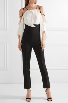 Roland Mouret | Benford cutout two-tone stretch-cady jumpsuit | NET-A-PORTER.COM