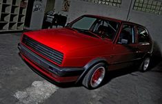 Red VW Golf Mk2 with Orciari front