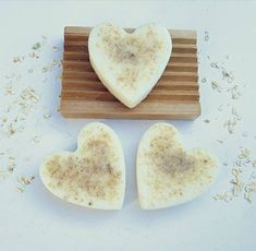 Heart Soap Gift Set - 3 Lavender Heart Soaps with Wooden Soap Dish - Extremely Moisturising. Send a Heart Shaped Hug. Greenfinch, Wooden Soap Dish, Whipped Soap, Theobroma Cacao, Vegan Soap, Shaving Soap, Soap Bar, Good Enough To Eat