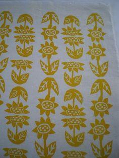 Sunflower Field- Hand Printed Fabric Panel