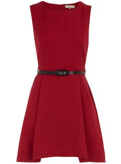 Burgundy belted shift dress