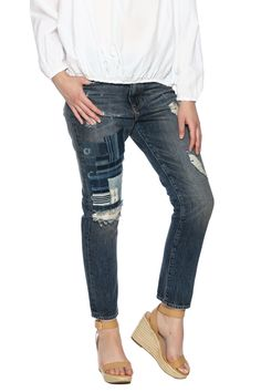 Artistic indigo patchwork with distressed detail enhance to character of this boyfriend style jean.   Indigo Patchwork Jean by Artisan de Luxe. Clothing - Bottoms - Jeans & Denim - Boyfriend Clothing - Bottoms - Jeans & Denim - Distressed Cleveland, Ohio