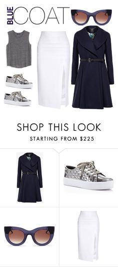 """BLUEcoat"" by tashquintas on Polyvore featuring Ted Baker, Rebecca Minkoff, Thierry Lasry, Cushnie Et Ochs, MANGO, women's clothing, women, female, woman and misses"