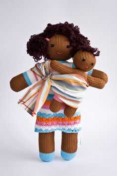 Babywearing Mommy Doll with a Baby Doll  knitted play by FrejaToys, $42.00
