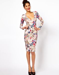V-Neck Dress With Jewel Flower Print by ASOS
