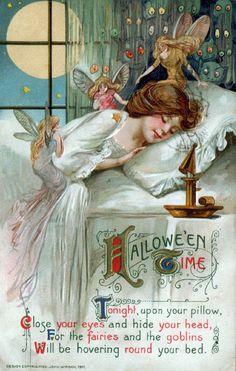 Illustration vintage Halloween Postcard fairies 1900s vintage halloween